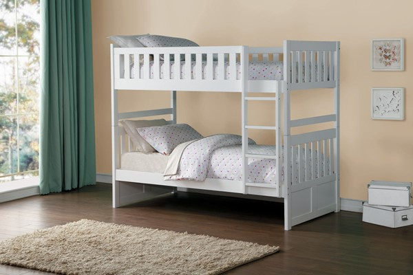 Home Elegance Galen White Twin Over Twin Bunk Bed HE-B2053W-1
