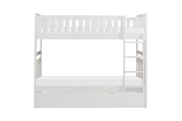Home Elegance Galen White Twin Over Twin Trundle Bunk Bed HE-B2053W-1-R