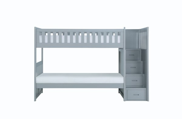 Home Elegance Orion Gray Reversible Step Storage Bunk Bed HE-B2063SB-1