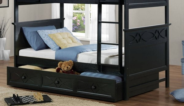 Sanibel Black Wood Trundle/Storage For Bunk Bed HE-B2119BK-TR