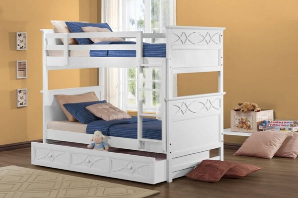 Sanibel Cottage White Wood Twin/Twin Trundle Storage Bunk Beds HE-B2119W-BB