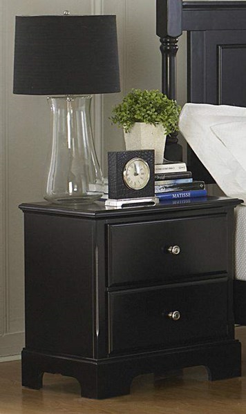 Morelle Classic Black Wood Round Knobs Two Drawers Night Stand HE-1356BK-4