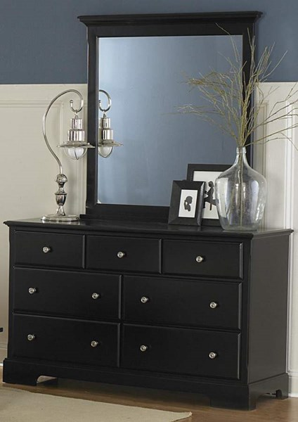 Morelle Classic Black Wood Round Knobs Sevan Drawers Dresser HE-1356BK-5