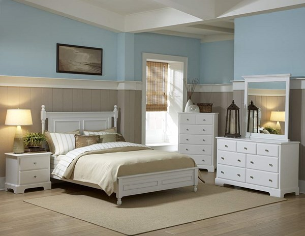 Morelle Classic White Wood Master Bedroom Set HE-1356W
