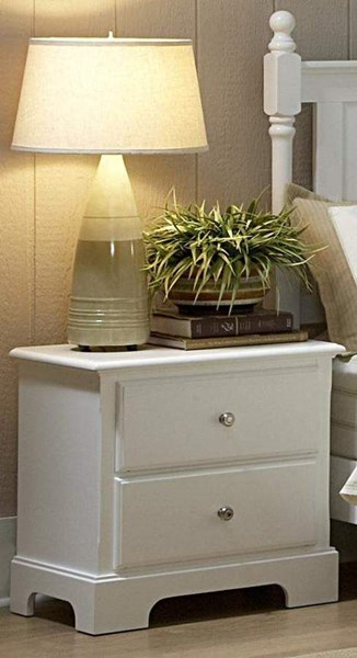 Morelle Classic White Wood Metal Round Knobs Two Drawers Night Stand HE-1356W-4