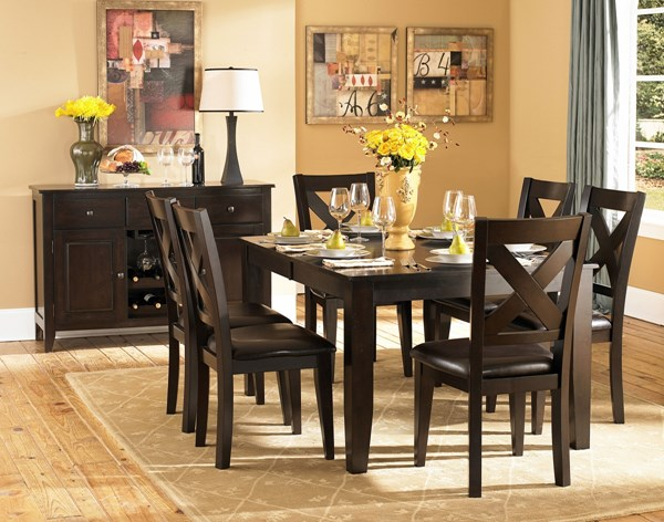 Crown Point Casual Merlot Faux Leather Wood 5pc Dining Room Set HE-1372-78-set