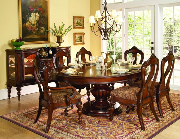Prenzo Casual Warm Brown Wood 7pc Dining Room Set W/Oval Table HE-1390-76-set2