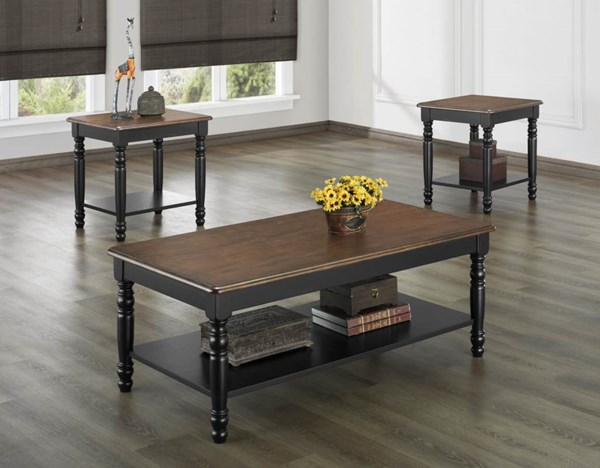 Ohana Casual Black Cherry Solid Wood Top 3pc Occasional Table HE-1393BK-31
