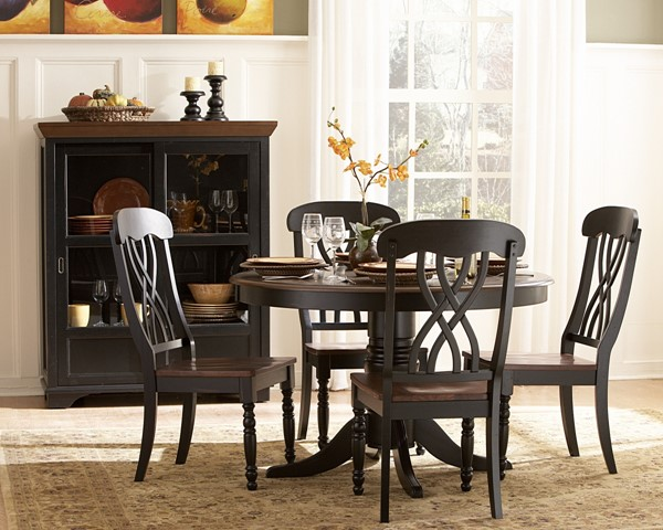 Ohana Casual Antique Black Warm Cherry Wood 5pc Dining Room Set HE-1393BK-48-set