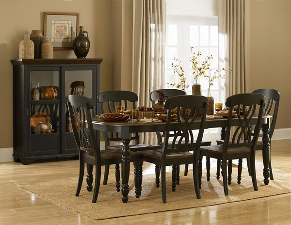 Ohana Casual Antique Black Warm Cherry Wood 7pc Dining Room Sets HE-1393-DRS-VAR2