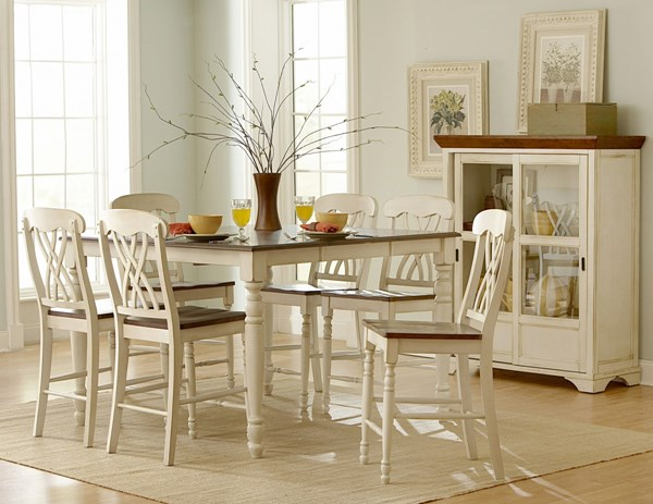 Ohana Casual Antique White Warm Cherry Wood Counter Height Table HE-1393W-36
