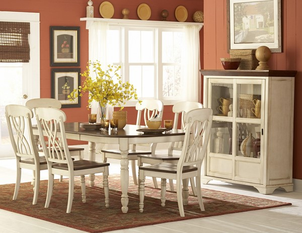 Ohana Casual Antique White Warm Cherry Wood Rectangle Dining Table HE-1393W-78