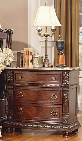 Palace Old World Rich Brown Wood Marble Top Three Drawers Night Stand HE-1394-4