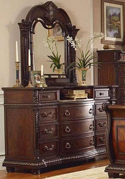 Palace Rich Brown Wood Marble Glass Dresser And Mirror HE-1394-5-HE-1394-6