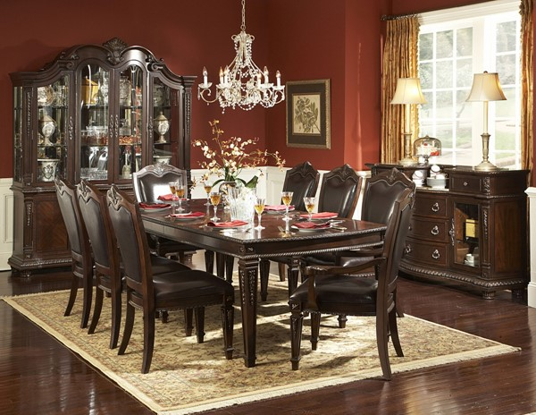 Palace Rich Brown Wood Leather Metal Glass Dining Room Set HE-1394DT