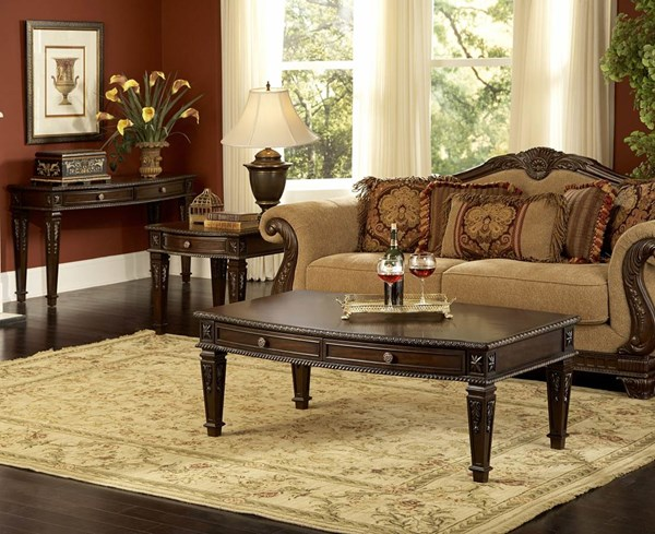 Palace Rich Brown Cherry Wood 4pc Coffee Table Set HE-1394OT-s2