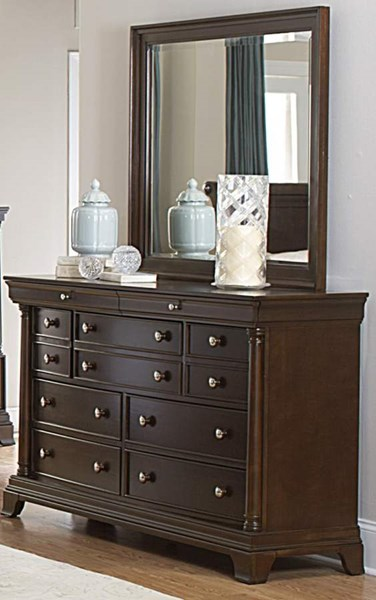 Inglewood Traditional Espresso Wood Glass Dresser And Mirror HE-1402-5-HE-1402-6RT