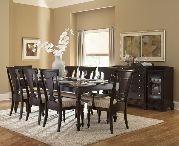 Inglewood Traditional Espresso Wood Fabric Glass Dining Room Set HE-1402DT