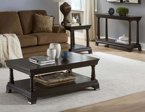 Inglewood Traditional Espresso Wood 3pc Coffee Table Set HE-1402OT-s1
