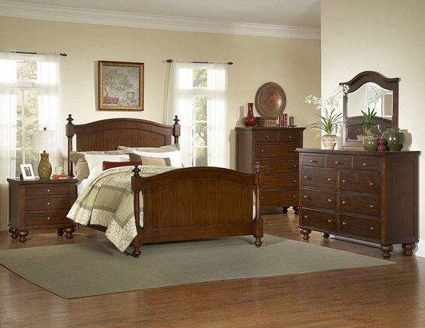 Aris Classic Warm Brown Cherry Hardwood 2pc Bedroom Set W/Queen Bed HE-1422-1-set2