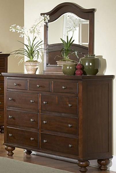 Aris Warm Brown Cherry Hardwood Veneers Glass Dresser And Mirror HE-1422-5-HE-1422-6