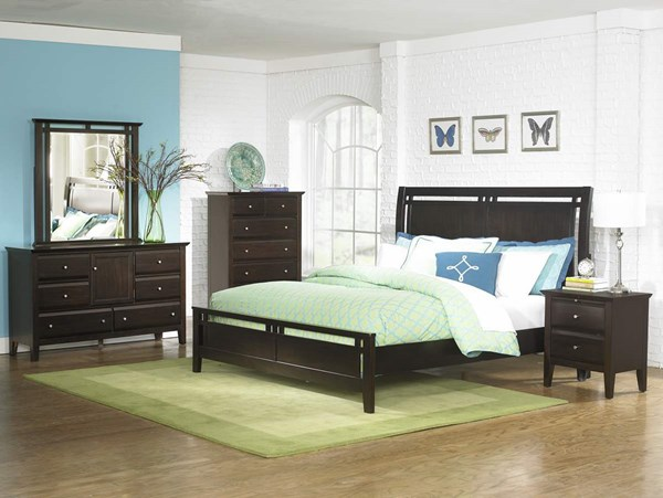 Verano Transitional Rich Espresso Wood Sleigh Beds HE-1733-beds