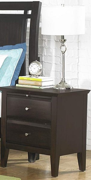 Verano Transitional Rich Espresso Wood Two Drawers Night Stand HE-1733-4