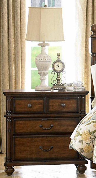 Langston Classic Brown Cherry Wood Four Drawers Night Stand HE-1746-4