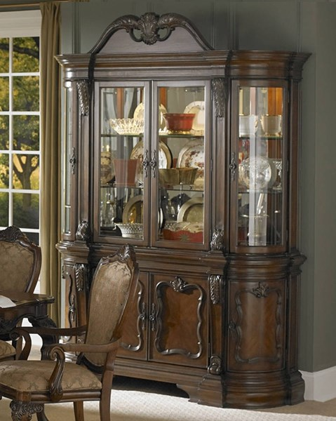 Cromwell Cherry Wood Glass Buffet & Hutch HE-2106-50