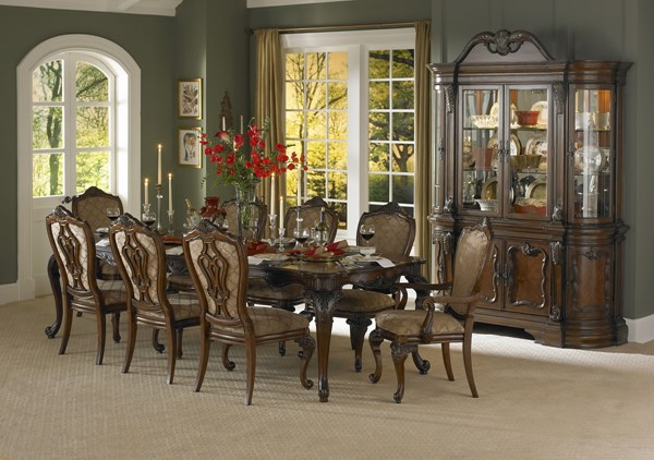 Cromwell Cherry Wood Upholstered Fabric Dining Room Set HE-2106DT
