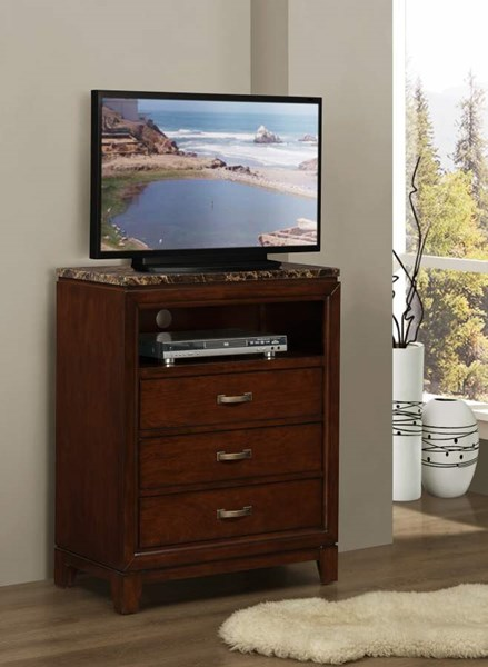 Ottowa Transitional Brown Cherry Wood Faux Marble TV Chest HE-2112-11