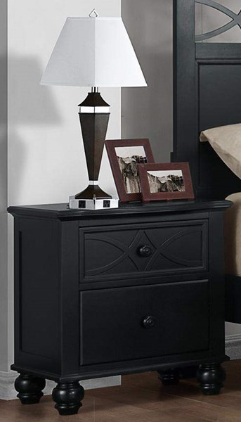 Sanibel Cottage Black Wood Metal 2 Drawers Night Stand HE-2119BK-4