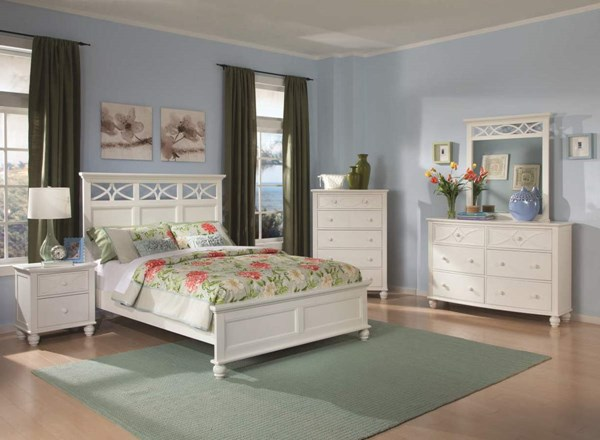 Sanibel Cottage White Wood Metal Glass 2pc Bedroom Set W/King Bed HE-2119W-1-set1