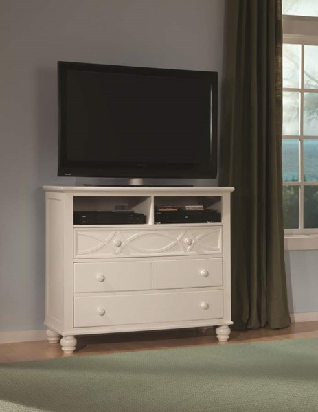 Sanibel Cottage White Wood Metal 3 Drawers TV Chest HE-2119W-11