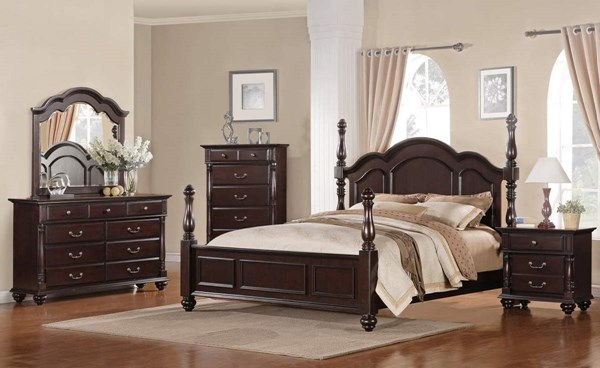 Townsford Rich Dark Cherry Wood 2pc Bedroom Set W/Queen Bed HE-2124-1-set2