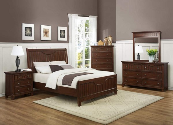 Alyssa Cherry Wood Metal Glass Master Bedroom Set HE-2136CH