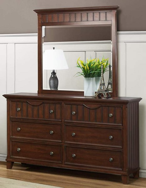 Alyssa Cherry Wood Metal Glass Dresser & Mirror HE-2136C-5-HE-2136C-6