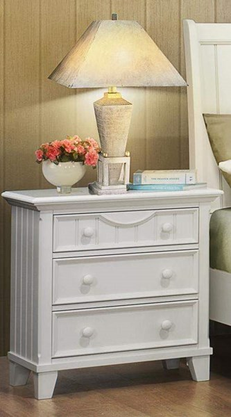 Alyssa Casual White Wood Round Knobs Night Stand HE-2136W-4