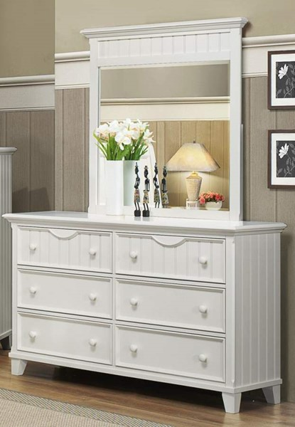 Alyssa Casual White Wood 6 Drawer Dresser HE-2136W-5
