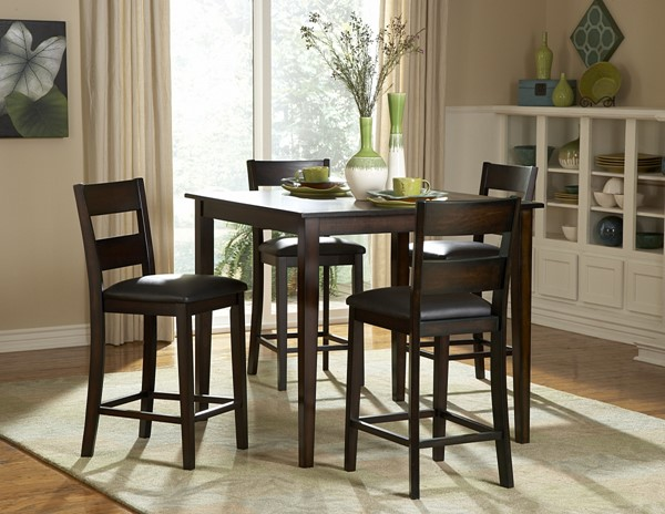 Griffin Black Burnished Wood Vinyl 5pc Pack Counter Height Set HE-2425-36
