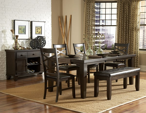 Hawn Casual Walnut Wood Vinyl Dining Room Set HE-2438DT