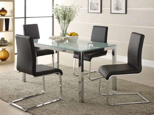 Knox Modern Chrome Metal Glass Dining Table HE-2448