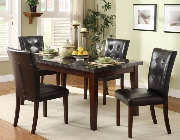 Decatur Espresso Dark Brown Wood Upholstered Fabric Marble Bar Set HE-2456BAR