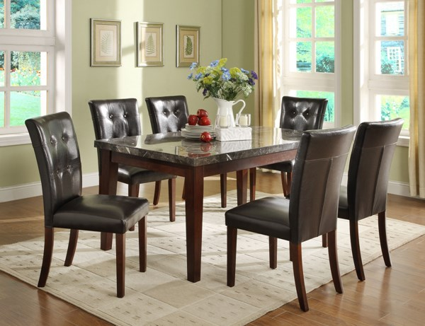Decatur Espresso Brown Wood Upholstered Fabric Marble Dining Room Set HE-2456DT