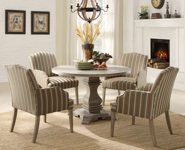 Euro Casual Rustic Weathered Wood Fabric 5pc Dining Room Set HE-2516-48-set