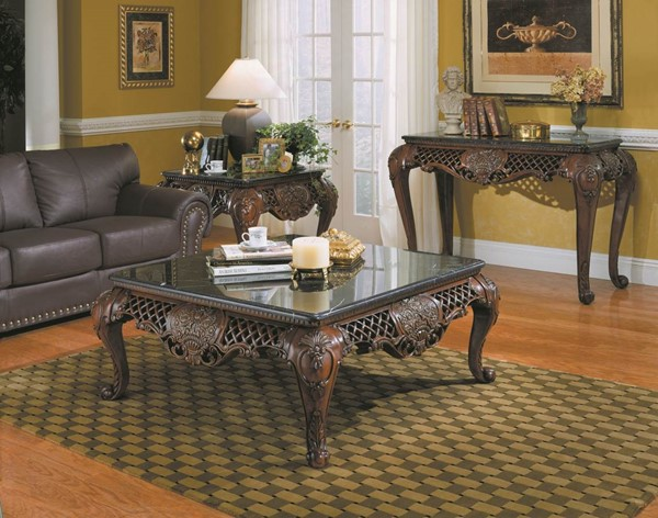 Gladstone Traditional Dark Cherry Wood Marble Top Coffee Table Set HE-251OT