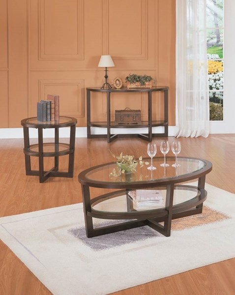 Vista Cherry Wood Glass Coffee Table Set HE-3206OT