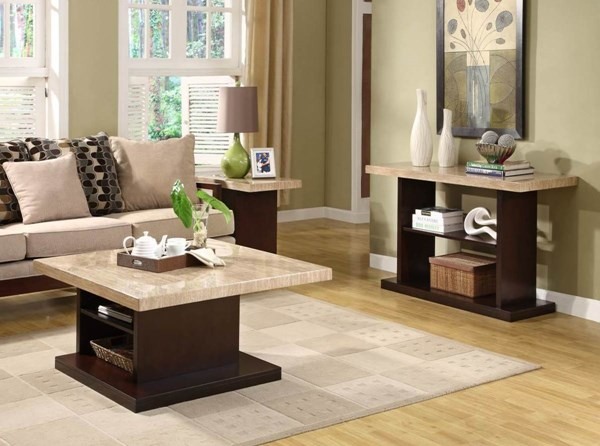 Mooney Dark Cherry Wood Faux Marble Top 3pc Coffee Table Set HE-3226OT-s1
