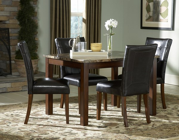 Achillea Cherry Black Wood Faux Marble 5pc Dining Room Set HE-3273-48-set
