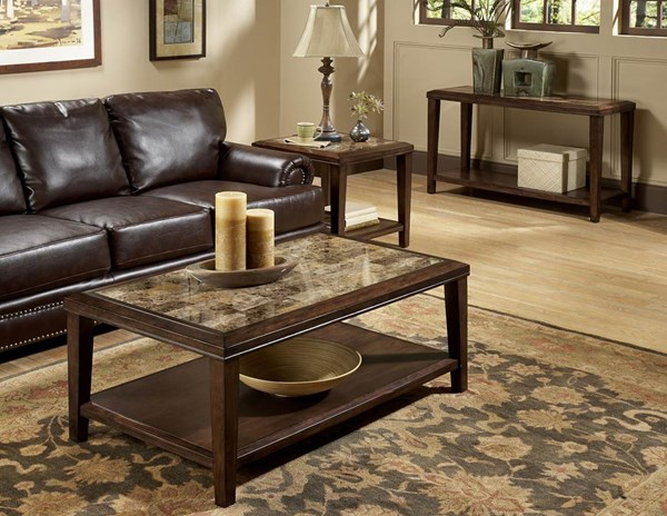Belvedere Espresso Wood Faux Marble Inlay 3pc Coffee Table Set HE-3276OT-s1
